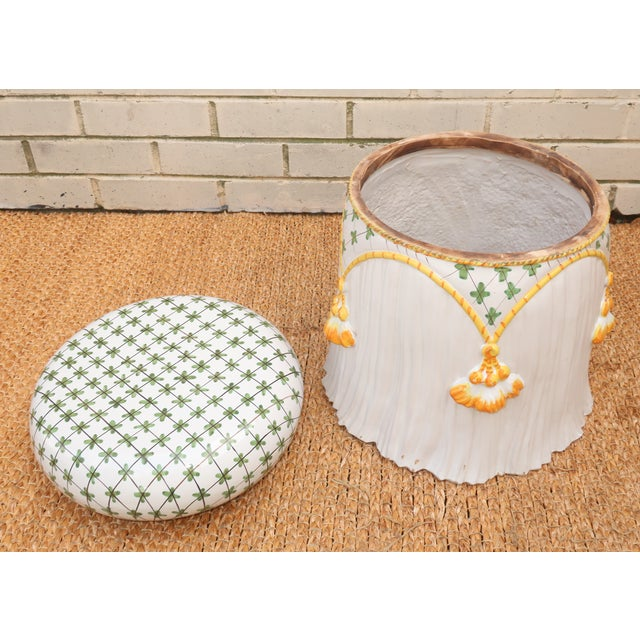 Ceramic Vintage Italian Ceramic Garden Stool With Tassels For Sale - Image 7 of 13
