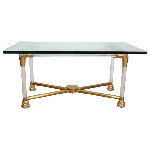 Brass and Glass Python Cocktail Table For Sale - Image 10 of 10