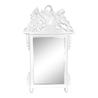 English Carved Wood Mirror White Lacquered For Sale