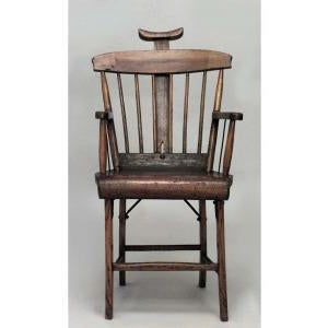 American American Country (19th Cent) Stained Pine Arm Chair With Spindle Back and Adjustable Headrest For Sale - Image 3 of 7