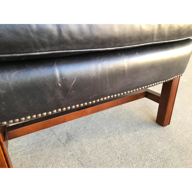 Pottery Barn Thatcher Leather Wing Back Arm Chair For Sale - Image 10 of 12