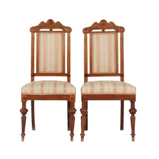 Pair of 1890's Renaissance Revival Chairs For Sale
