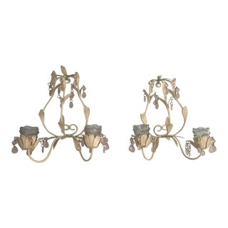 White Metal Sconces With Pale Pink Beads and Votives - Set of 2