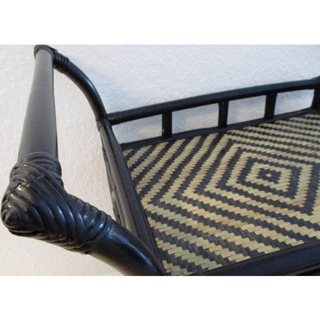 Black & Tan Bamboo & Rattan Rolling Bar Cart For Sale In West Palm - Image 6 of 9