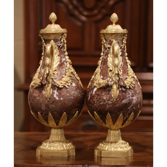 19th Century French Carved Variegated Marble and Gilt Bronze Cassolettes-a Pair For Sale In Dallas - Image 6 of 9