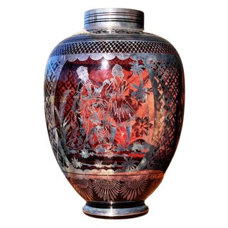 Silver Overlay Patterns of People and Flowers Cranberry Art Glass Vase For Sale