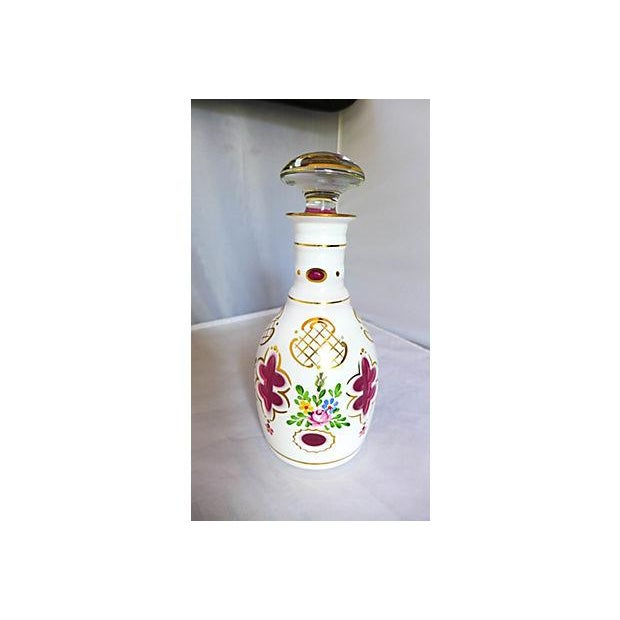 Beautiful elegant hand painted with flowers bohamian glass decanter, Condition is very good; small under-lip, repaired
