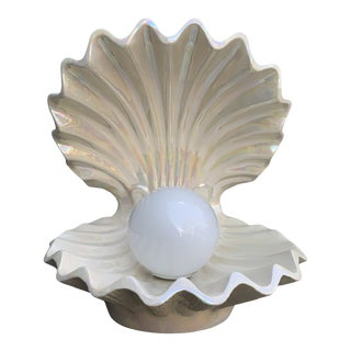 Vintage Large Pearlescent Ceramic Clam Lamp For Sale