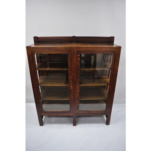 1900s Arts & Crafts Stickley Era Glass Double Door China Cabinet Bookcase For Sale - Image 12 of 13