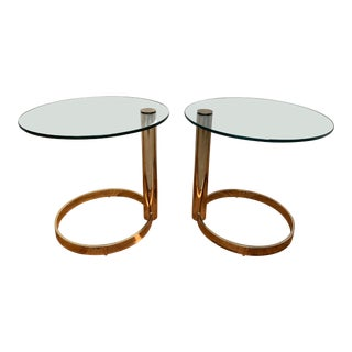 1980s Contemporary Pace Brass and Glass Round Drinks Tables - a Pair For Sale