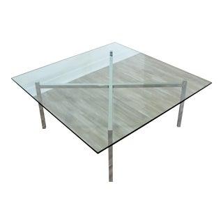 Mid Century Modern Chrome Glass Coffee Table X Base Bennett Mies Barcelona Style For Sale