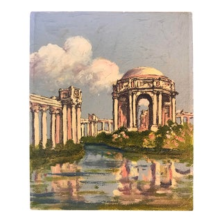 1950s Vintage Palace of Fine Arts San Francisco Oil Painting For Sale
