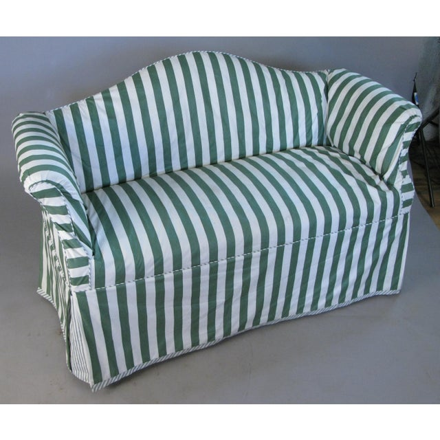 Petite Camelback Settees With Slipcovers in Green & White - a Pair For Sale In New York - Image 6 of 10