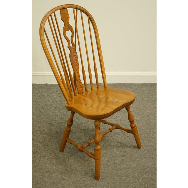 Late 20th Century Vintage S. Bent Bros. Grand Rapids Solid Oak Country Style Dining Side Chair For Sale - Image 4 of 11