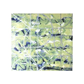 """Gudrun Mertes-Frady """"Somewhere Else"""" Green Abstract Painting on Paper For Sale"""