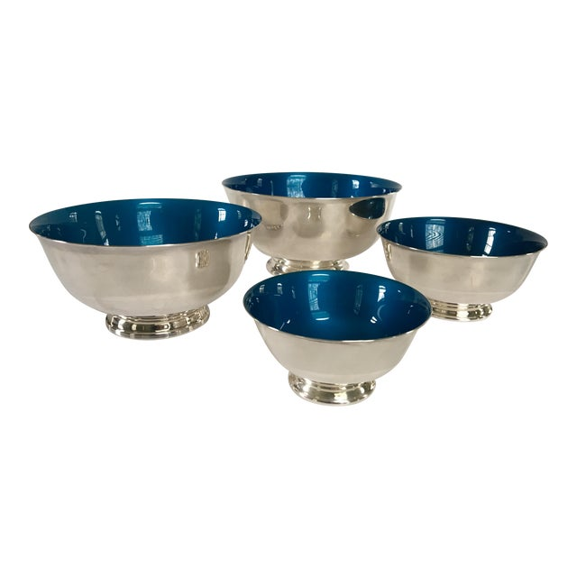 Mid-Century Reed & Barton Silver-Plated Revere Bowls With Blue Enamel Interiors - Set of 4 Sizes For Sale