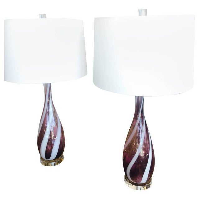 Vintage Murano Glass Italian Table Lamps, 1950s - A Pair For Sale - Image 11 of 11