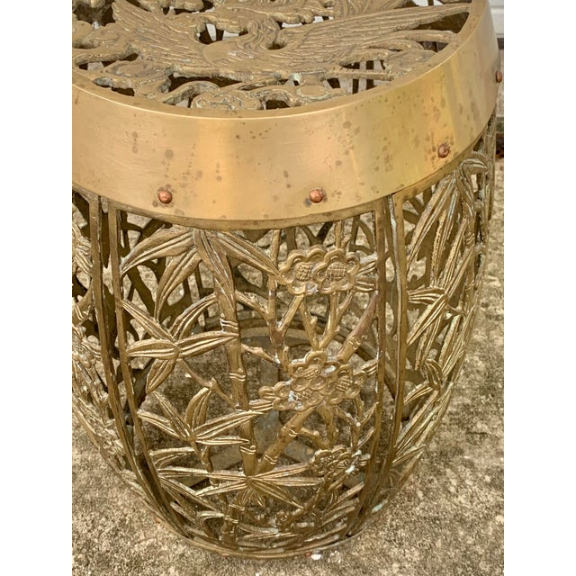 Asian Vintage Brass Faux Bamboo and Fretwork Design Garden Stool For Sale - Image 3 of 13