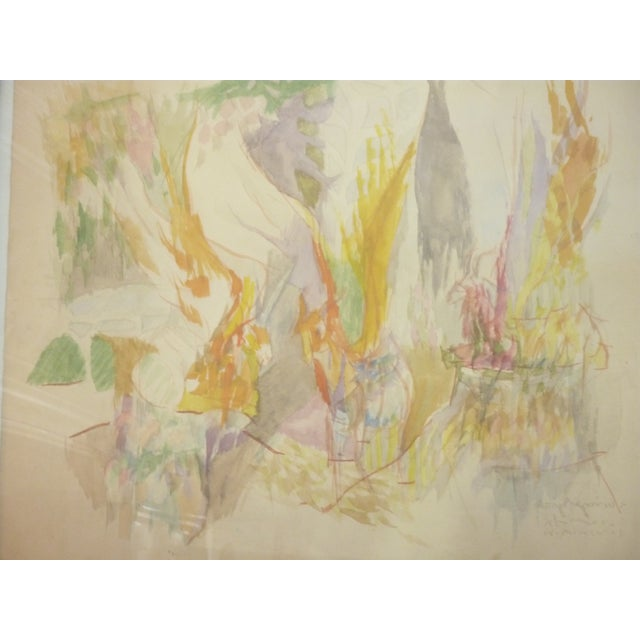 Mid-Century Abstract Watercolor Painting For Sale In Boston - Image 6 of 6