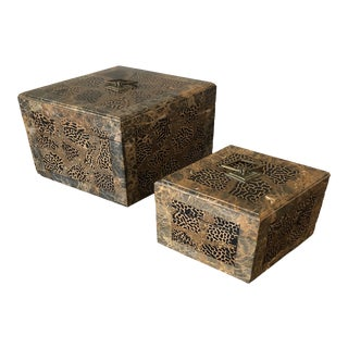 Maitland Smith Faux Hide and Stone Boxes - a Pair For Sale