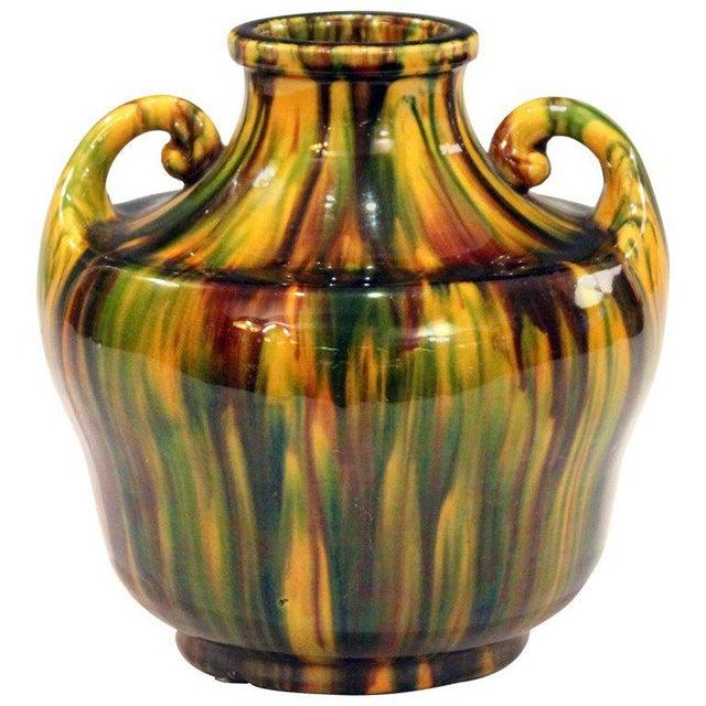 1930s Awaji Pottery Art Deco Japanese Vintage Studio Vase in Yellow Flambe Glaze For Sale - Image 5 of 9