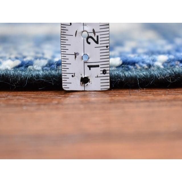 2010s Denim Blue Kashkuli Gabbeh Pictorial Wool Hand Knotted Runner For Sale - Image 5 of 7