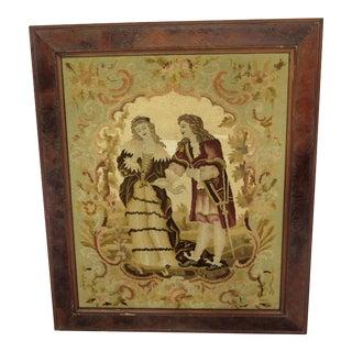 1940s Vintage Framed French Romantics Tapestry For Sale