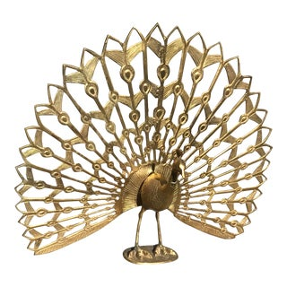 Mid Century Modern Cast Brass Peacock Fireplace Screen Statue For Sale