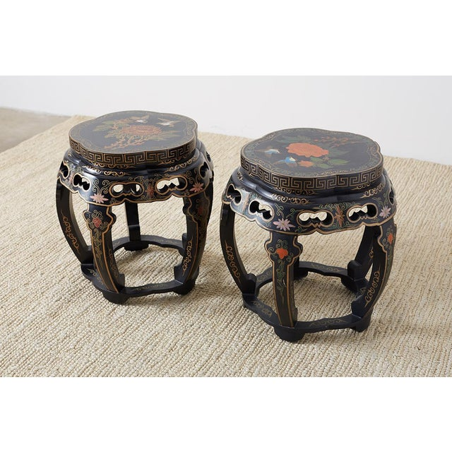 Asian Pair of Polychrome Garden Seats or Drink Tables For Sale - Image 3 of 13