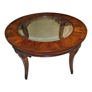 Glass & Inlaid Wood Coffee Table For Sale