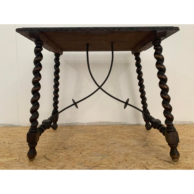 Wood 19th Century Salomonic Baroque Side Table With Carved Top and Iron Stretchers For Sale - Image 7 of 11