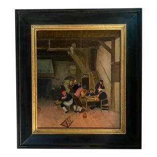 1990s Dutch Interior Scene Oil Painting, Framed For Sale
