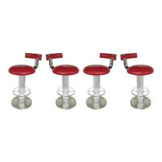 1960s Design for Leisure Stainless & Leather Bar Stools-Set of 4 For Sale