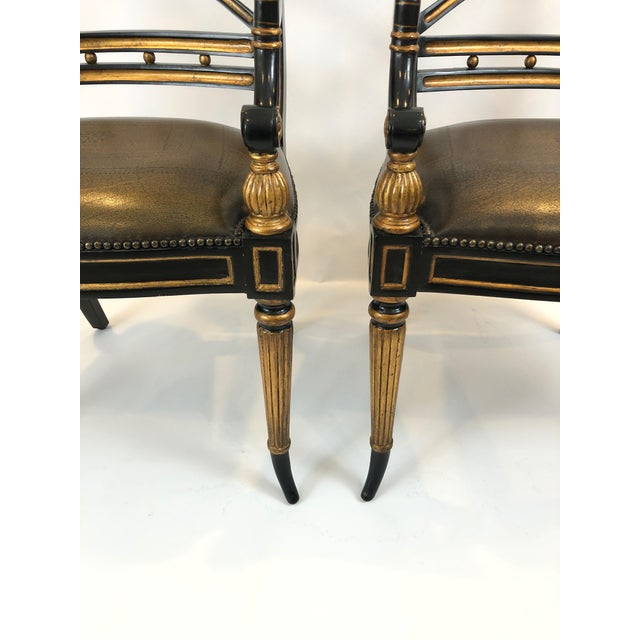 Regency Regency Black and Gilded Armchairs With Leather Seats - a Pair For Sale - Image 3 of 13