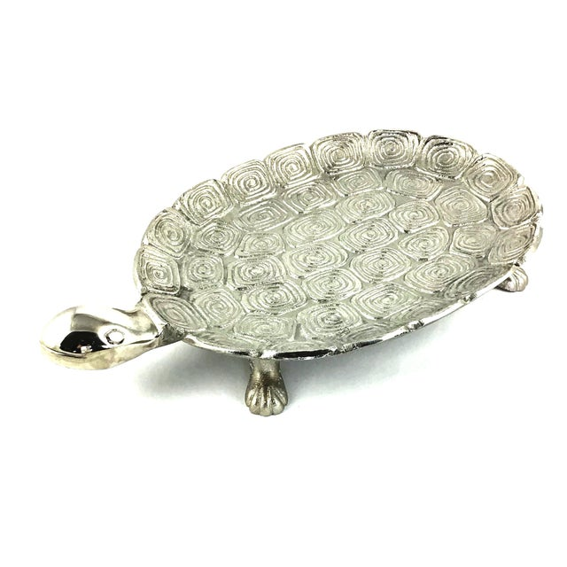 1980s Giant Sea Turtle Carved Aluminum Catchall Tray For Sale - Image 13 of 13