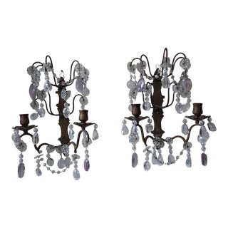 Antique French Candle Wall Sconces With Updated Carved Rock Crystal and Amethyst - a Pair For Sale