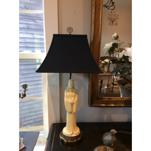 Vintage 1940s Asian Porcelain Figure Lamps With Silk Pagoda Style Shades - a Pair For Sale - Image 9 of 12