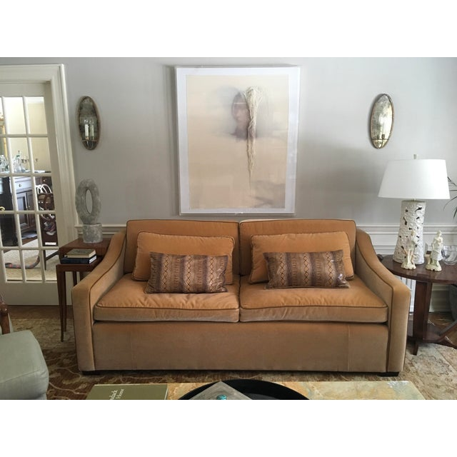 This is a sophisticated, one of a kind, bench made, authentic and incredibly luxe Mohair caramel colored, super...