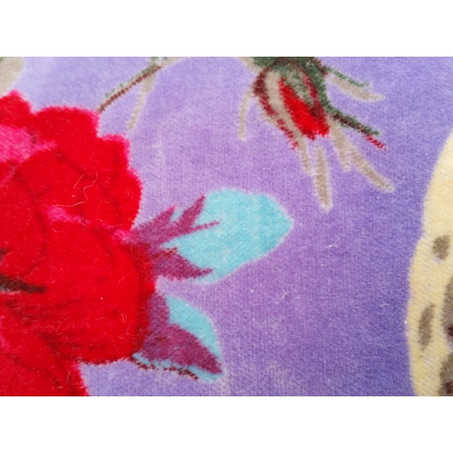 Purple Cotton Velvet Floral Bird Pillows - A Pair - Image 4 of 5