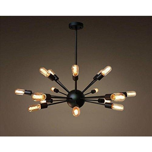 This cool industrial chandelier will surely be a conversation starter in your home! Item Weight: 11 pounds Color: Black...