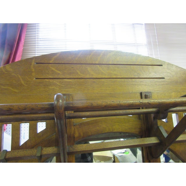 Wood Antique English Arts and Crafts Oak Coat Rack, Hat Rack and Umbrella Stand For Sale - Image 7 of 11