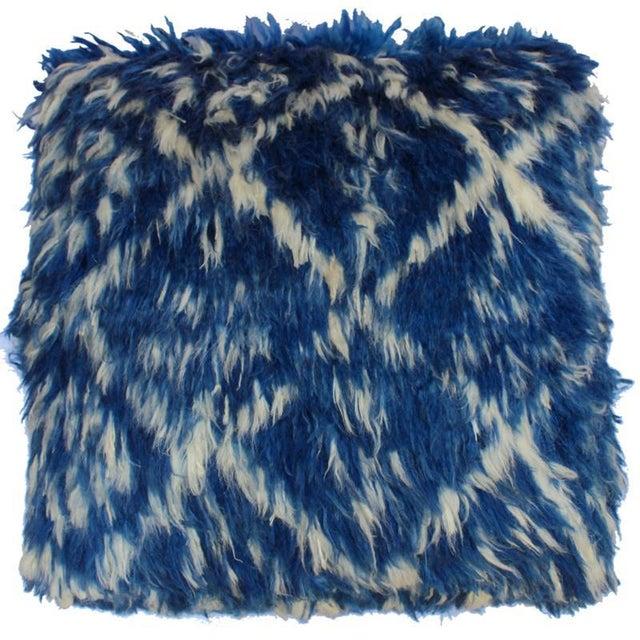 1990s Boho Chic Corine Blue/Ivory Morrocan Wool Upholstered Handmade Ottoman For Sale - Image 5 of 8