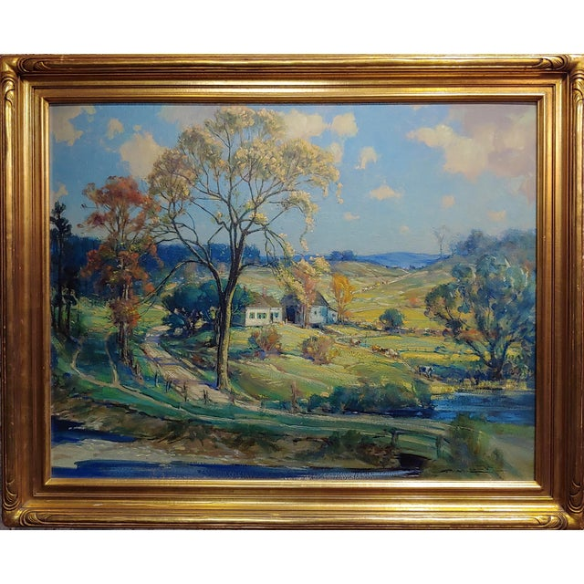 Frederick Mortimer Lamb -New England Country side Landscape-Oil painting-c1900s oil painting on board -Signed circa...