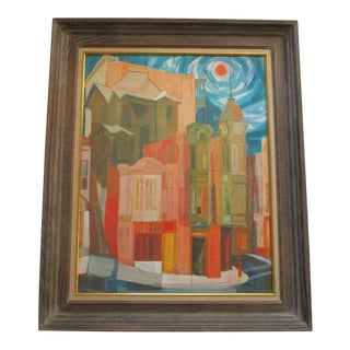 Howard Clapp Painting Colorful Bright Cityscape Cubism Abstract Expressionism For Sale