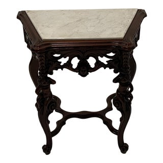 Carved Mahogany Side Table With Marble Top For Sale