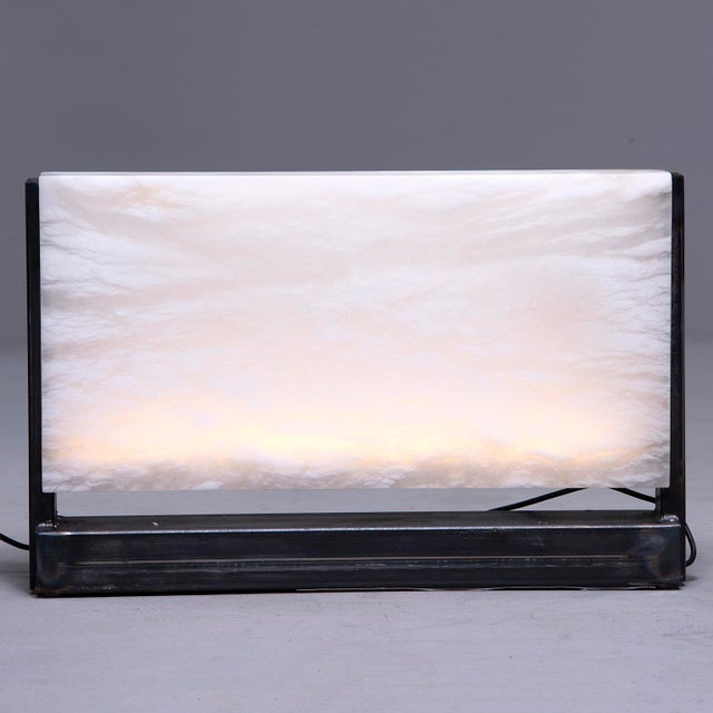 Contemporary Hand Carved Italian Alabaster Rectangular Led Table Lamp For Sale - Image 3 of 13