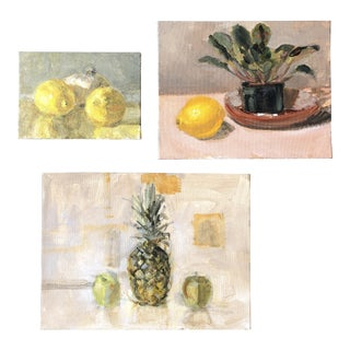 Gallery Wall Collection 3 Contemporary Impressionist Small Still Life Paintings For Sale