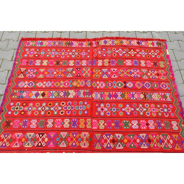 Modern Colorful Area Rug - 5′6″ × 6′12″ For Sale - Image 7 of 9