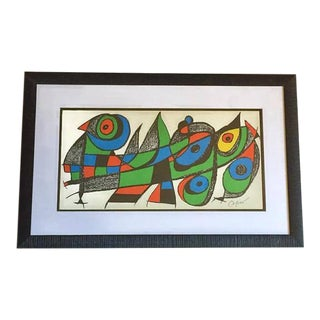 "Mid Century Modern Abstract Art Print Joan Miro Framed Escultor for Japan - 30"" For Sale"