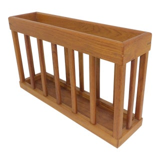 Late 20th Century Vintage Natural Wood Magazine Rack For Sale